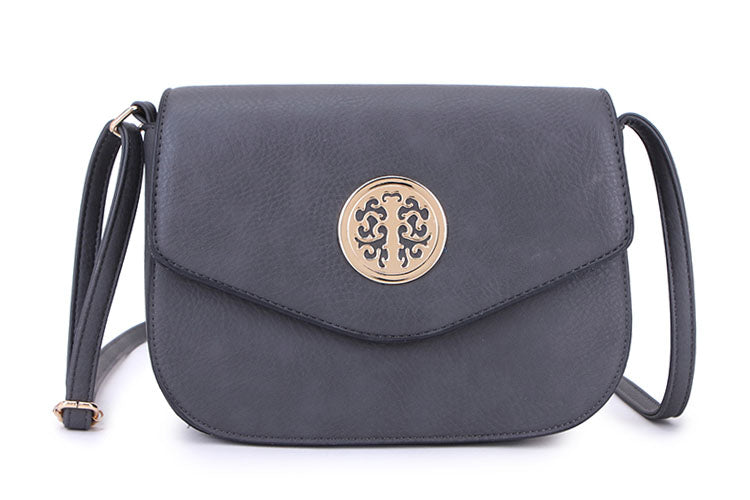 DARK GREY MULTI COMPARTMENT CROSS BODY SATCHEL BAG