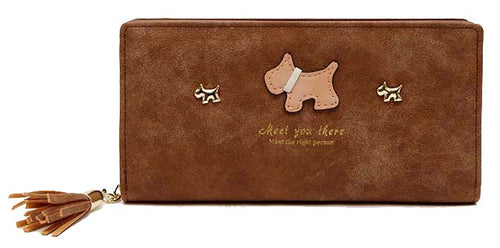 A-SHU DARK BROWN MULTI-COMPARTMENT DOG PURSE WALLET WITH TASSEL - A-SHU.CO.UK