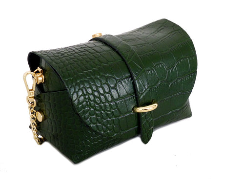 DARK GREEN GENUINE LEATHER CROC PRINT CROSS BODY BAG WITH CHAIN STRAP
