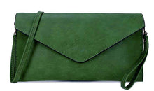 A-SHU LARGE DARK GREEN OVERSIZED ENVELOPE CLUTCH BAG WITH WRISTLET AND LONG CROSSBODY SHOULDER STRAP - A-SHU.CO.UK