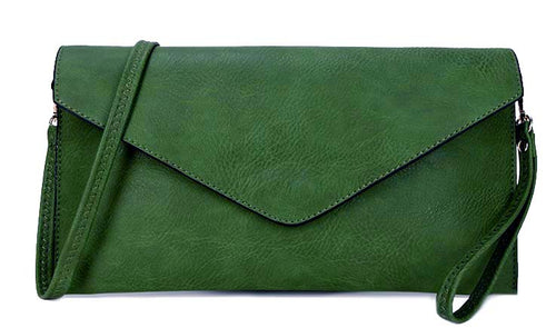 LARGE DARK GREEN OVERSIZED ENVELOPE CLUTCH BAG WITH WRISTLET AND LONG CROSSBODY SHOULDER STRAP