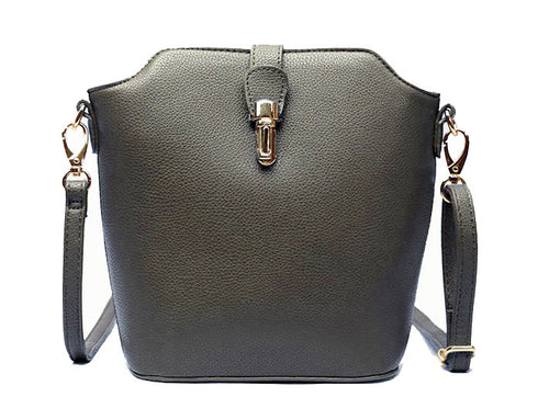 DARK GREY CROSS BODY BAG WITH LONG OVER SHOULDER STRAP
