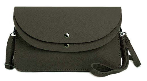 A-SHU DARK GREY ENVELOPE MULTI-POCKET CLUTCH BAG WITH WRISTLET AND LONG SHOULDER STRAP - A-SHU.CO.UK