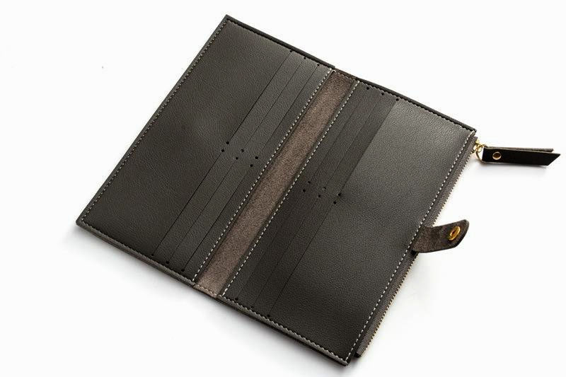 A-SHU DARK GREY FAUX LEATHER SLIM MULTI-COMPARTMENT PURSE WALLET WITH MOBILE PHONE SLOT - A-SHU.CO.UK