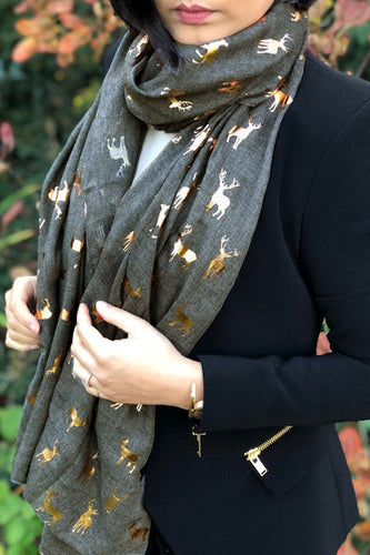 A-SHU DARK GREY LONG ROSE GOLD DEER SCARF - A-SHU.CO.UK