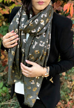 A-SHU DARK GREY METALLIC ROSE GOLD LEOPARD PRINT SCARF - A-SHU.CO.UK