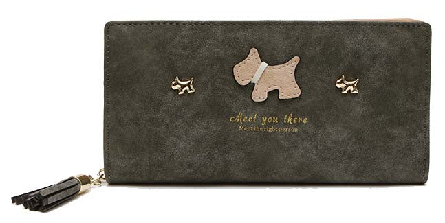 A-SHU DARK GREY MULTI-COMPARTMENT DOG PURSE WALLET WITH TASSEL - A-SHU.CO.UK