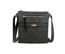 A-SHU DARK GREY MULTI COMPARTMENT CROSS BODY SHOULDER BAG - A-SHU.CO.UK