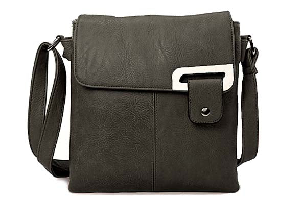 A-SHU LARGE DARK GREY MULTI POCKET CROSS BODY MESSENGER BAG - A-SHU.CO.UK