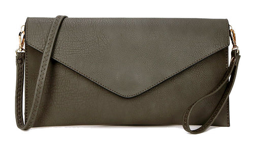 DARK GREY OVER-SIZED ENVELOPE CLUTCH BAG WITH LONG CROSS BODY AND WRISTLET STRAP
