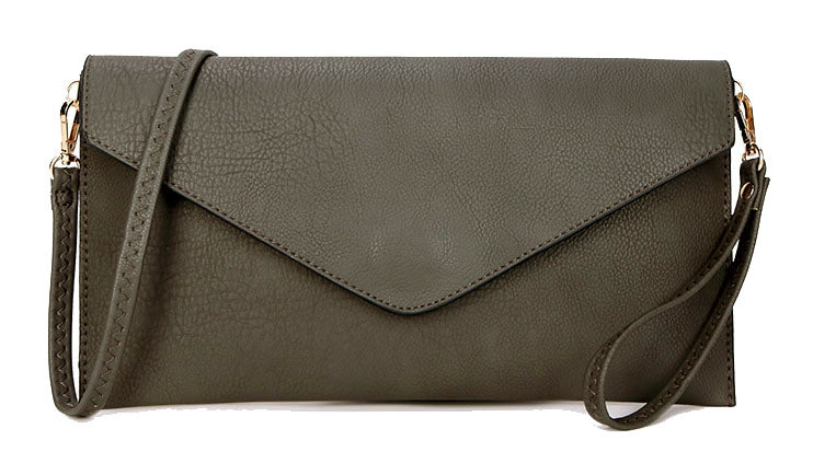 A-SHU DARK GREY OVER-SIZED ENVELOPE CLUTCH BAG WITH LONG CROSS BODY AND WRISTLET STRAP - A-SHU.CO.UK
