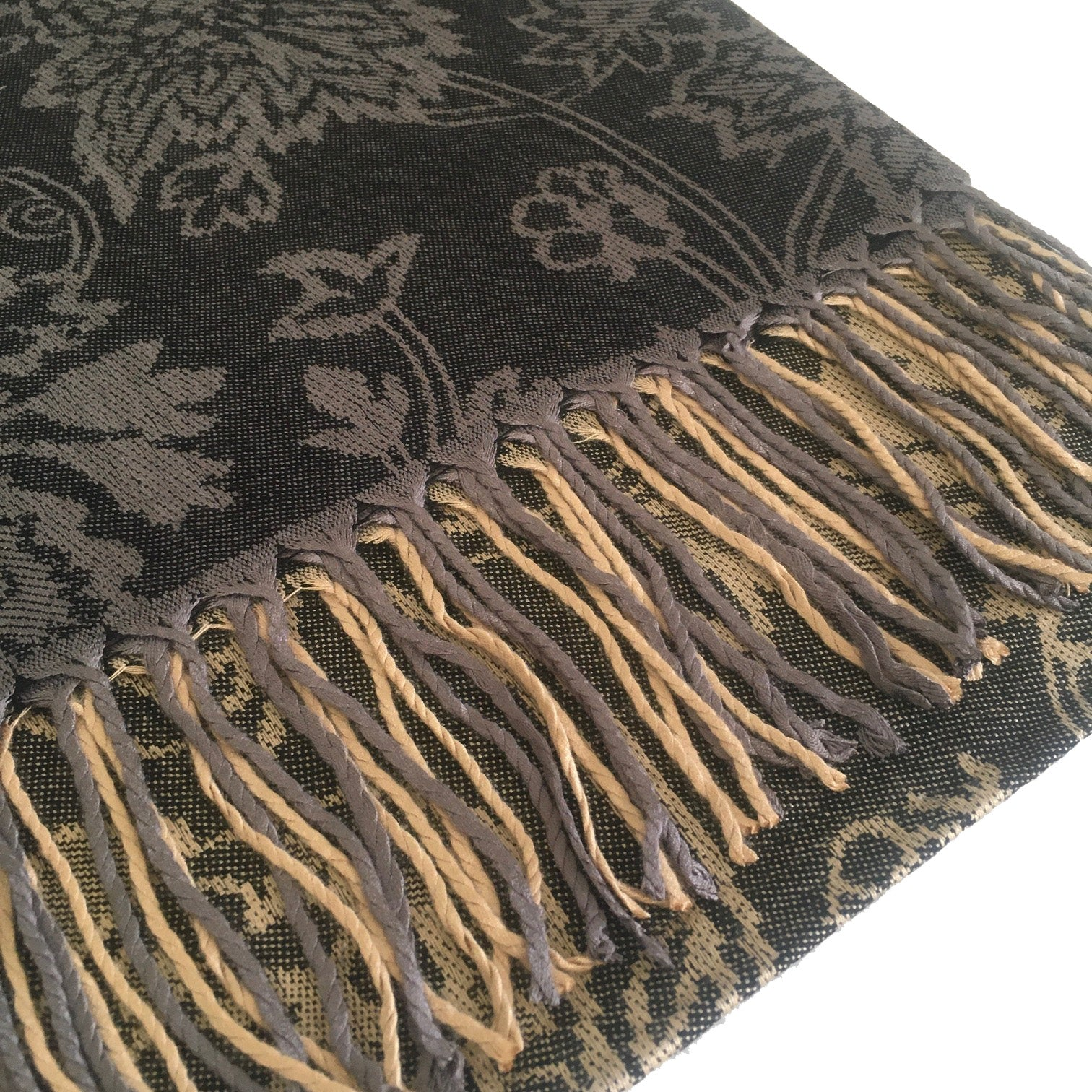 A-SHU DARK GREY PAISLEY FLORAL PRINT REVERSIBLE PASHMINA SHAWL SCARF - A-SHU.CO.UK