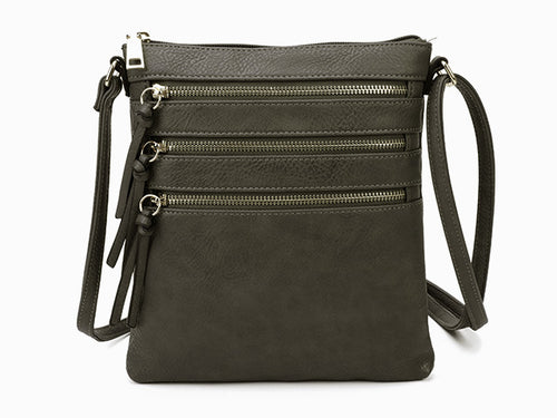 A-SHU DARK GREY SLIM MULTI POCKET CROSS BODY BAG WITH LONG STRAP - A-SHU.CO.UK