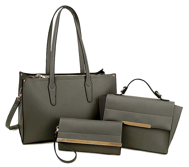 A-SHU DARK GREY TOTE HANDBAG SET WITH SMALL HOLDALL CROSS BODY BAG AND CLUTCH BAG / PURSE WALLET - A-SHU.CO.UK