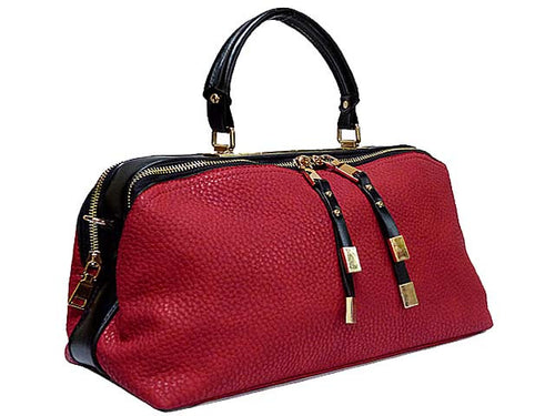 A-SHU DARK RED LEATHER EFFECT MULTI-COMPARTMENT HANDBAG WITH LONG SHOULDER STRAP - A-SHU.CO.UK