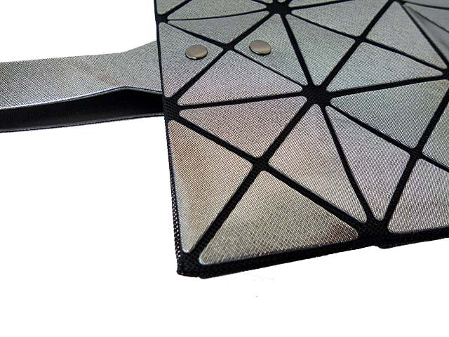 A-SHU DARK SILVER GREY LUMINOUS LASER CUT HOLOGRAPHIC GEOMETRIC TOTE HANDBAG - A-SHU.CO.UK