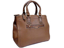 ORDER BY REQUEST - DARK TAUPE LEATHER EFFECT MULTI-COMPARTMENT HANDBAG WITH DETACHABLE PURSE AND LONG STRAP
