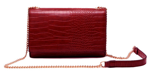 A-SHU DEEP RED SNAKESKIN CROSS BODY SHOULDER BAG WITH LONG GOLD CHAIN STRAP - A-SHU.CO.UK