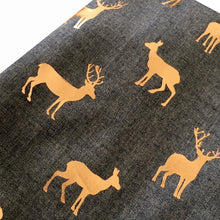 A-SHU DENIM BLUE LONG ROSE GOLD DEER SCARF - A-SHU.CO.UK