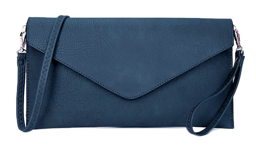LARGE DENIM BLUE OVERSIZED ENVELOPE CLUTCH BAG WITH WRISTLET AND LONG CROSSBODY SHOULDER STRAP