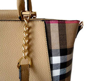 A-SHU DESIGNER STYLE BEIGE CHECKED HANDBAG WITH CHAIN LINKED STRAPS - A-SHU.CO.UK