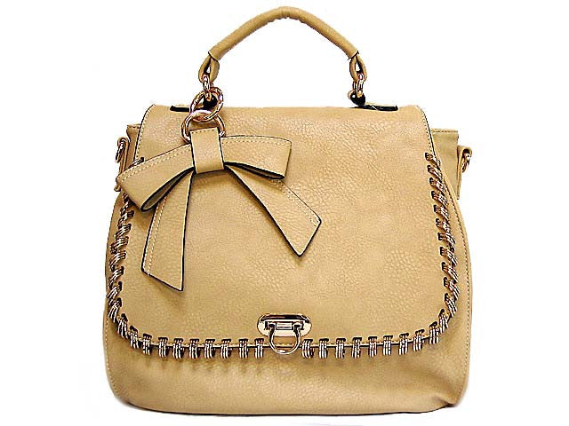 ORDER BY REQUEST - DESIGNER STYLE BEIGE HOLDALL HANDBAG WITH BOW DESIGN AND LONG STRAP
