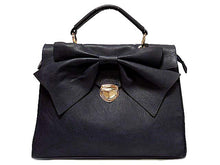 A-SHU DESIGNER STYLE BLACK BOW DESIGN HOLDALL HANDBAG WITH LONG SHOULDER STRAP - A-SHU.CO.UK