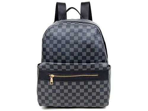 A-SHU DESIGNER STYLE BLACK CHECKED BACKPACK / RUCKSACK - A-SHU.CO.UK