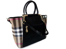DESIGNER STYLE BLACK CHECKED HANDBAG WITH CHAIN LINKED STRAPS
