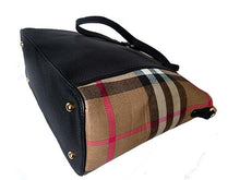 A-SHU DESIGNER STYLE BLACK CHECKED HANDBAG WITH CHAIN LINKED STRAPS - A-SHU.CO.UK