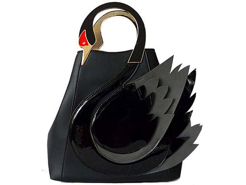 ORDER BY REQUEST - DESIGNER STYLE BLACK SWAN 3D 2-WAY HOLDALL HANDBAG WITH LONG STRAP