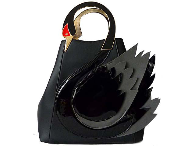 A-SHU DESIGNER STYLE BLACK SWAN 3D 2-WAY HOLDALL HANDBAG WITH LONG STRAP - A-SHU.CO.UK