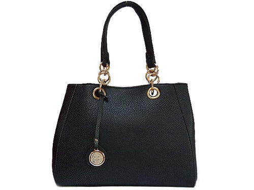 A-SHU DESIGNER STYLE BLACK MULTI-COMPARTMENT CHAIN HANDBAG WITH STRAP - A-SHU.CO.UK