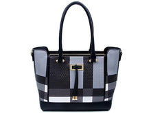 A-SHU DESIGNER STYLE BLACK MULTI-COMPARTMENT CHECKED HANDBAG WITH LONG STRAP - A-SHU.CO.UK
