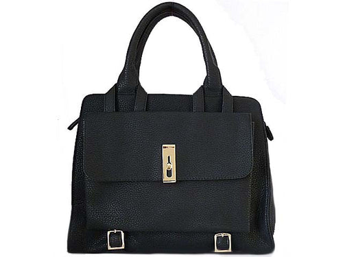A-SHU ORDER BY REQUEST - DESIGNER STYLE BLACK MULTI-COMPARTMENT HANDBAG WITH FRONT FLAP AND LONG STRAP - A-SHU.CO.UK