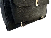 ORDER BY REQUEST - DESIGNER STYLE BLACK MULTI-COMPARTMENT HANDBAG WITH FRONT FLAP AND LONG STRAP