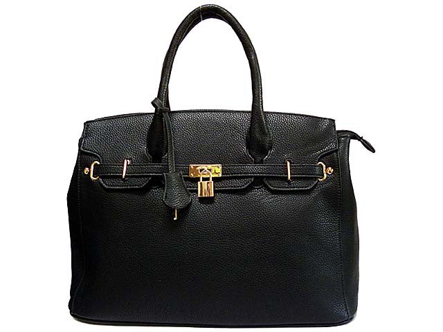 A-SHU DESIGNER STYLE BLACK MULTI-COMPARTMENT HOLDALL HANDBAG WITH LOCK, KEY AND LONG STRAP - A-SHU.CO.UK