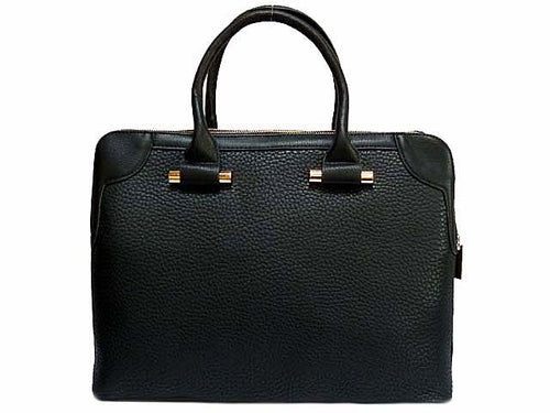 DESIGNER STYLE BLACK MULTI-COMPARTMENT HOLDALL / LAPTOP HANDBAG WITH LONG STRAP