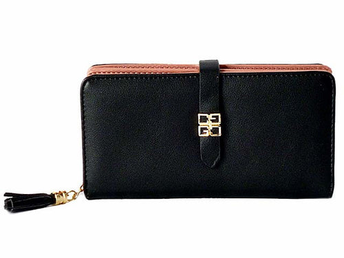 DESIGNER STYLE BLACK MULTI-COMPARTMENT TASSEL PURSE