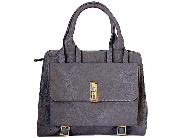 A-SHU BLUE MULTI-COMPARTMENT HANDBAG WITH FRONT FLAP AND LONG STRAP - A-SHU.CO.UK