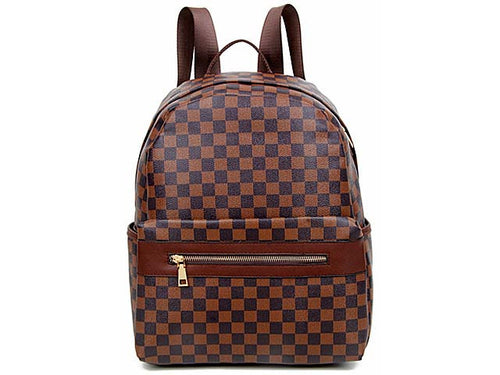A-SHU DESIGNER STYLE BROWN CHECKED BACKPACK / RUCKSACK - A-SHU.CO.UK