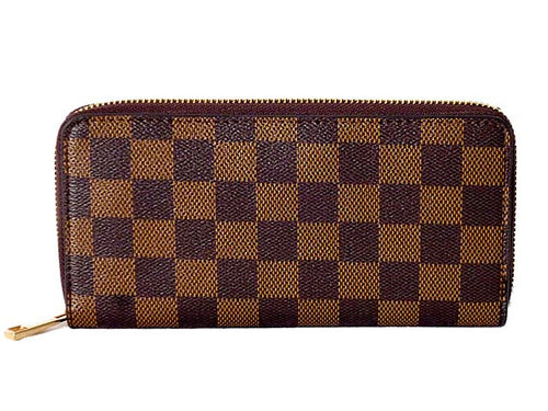 DESIGNER STYLE BROWN CHECKED PURSE