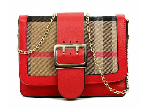 DESIGNER STYLE CHECKED CROSS-BODY SHOULDER BAG - RED