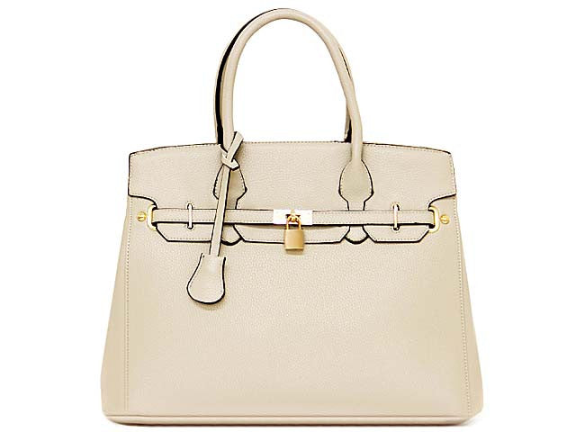 ORDER BY REQUEST - DESIGNER STYLE CREAM MULTI-COMPARTMENT HOLDALL HANDBAG WITH LOCK, KEY AND LONG STRAP
