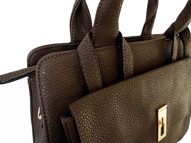 A-SHU DARK BROWN MULTI-COMPARTMENT HANDBAG WITH FRONT FLAP AND LONG STRAP - A-SHU.CO.UK