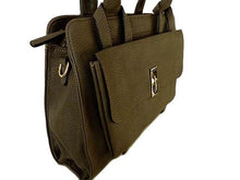 A-SHU DESIGNER STYLE DARK BROWN MULTI-COMPARTMENT HANDBAG WITH FRONT FLAP AND LONG STRAP - A-SHU.CO.UK