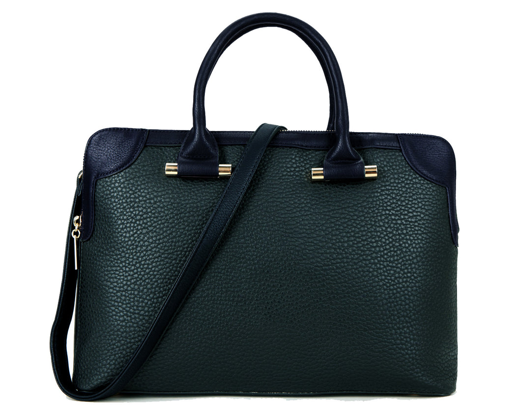 A-SHU DARK TEAL NAVY BLUE MULTI-COMPARTMENT HOLDALL / LAPTOP HANDBAG WITH LONG STRAP - A-SHU.CO.UK