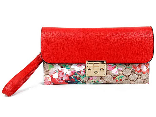 A-SHU DESIGNER STYLE FLORAL PRINT CLASP CROSS-BODY CLUTCH BAG WITH WRIST STRAP - RED - A-SHU.CO.UK
