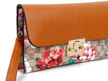 A-SHU DESIGNER STYLE FLORAL PRINT CLASP CROSS-BODY CLUTCH BAG WITH WRIST STRAP - TAN - A-SHU.CO.UK