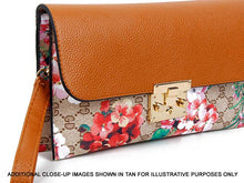 A-SHU DESIGNER STYLE FLORAL PRINT CLASP CROSS-BODY CLUTCH BAG WITH WRIST STRAP - BROWN - A-SHU.CO.UK